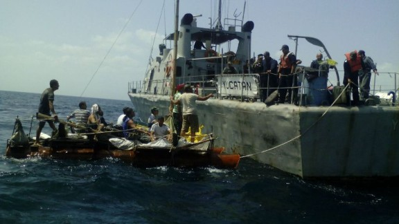 Mexican authorities say they rescued rafts packed with Cuban migrants off the Yucatan Peninsula Sunday.