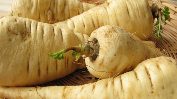 These white, carrotlike roots are a great source of vitamins C and K, folate, potassium and manganese, as well as being low in sodium, fat and cholesterol. The smaller tubers are more flavorful and tender; they have a sweet taste, which is why Europeans used them in jams and sweets.