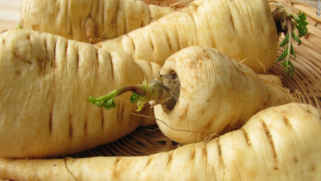 "These white, carrotlike roots are a great <a href=""http://nutritiondata.self.com/facts/vegetables-and-vegetable-products/2514/2"" target=""_blank"">source</a> of vitamins C and K, folate, potassium and manganese, as well as being low in sodium, fat and cholesterol. The smaller tubers are more flavorful and tender; they have a sweet taste, which is why <a href=""http://www.fruitsandveggiesmorematters.org/parsnips"" target=""_blank"">Europeans</a> used them in jams and sweets."