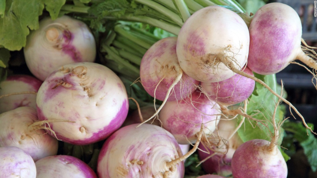 "Peeled easily with a vegetable peeler, <a href=""http://nutritiondata.self.com/facts/ethnic-foods/10467/2"" target=""_blank"">turnips</a> have a peppery flavor, are low in sodium and are a good source of vitamin B6 and selenium.  Eating the greens is common in the South.  Smaller turnips are more likely to be tender and sweeter; look for smooth skin and fresh-looking greens."