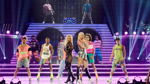 Britney Spears, foreground left, and Iggy Azalea