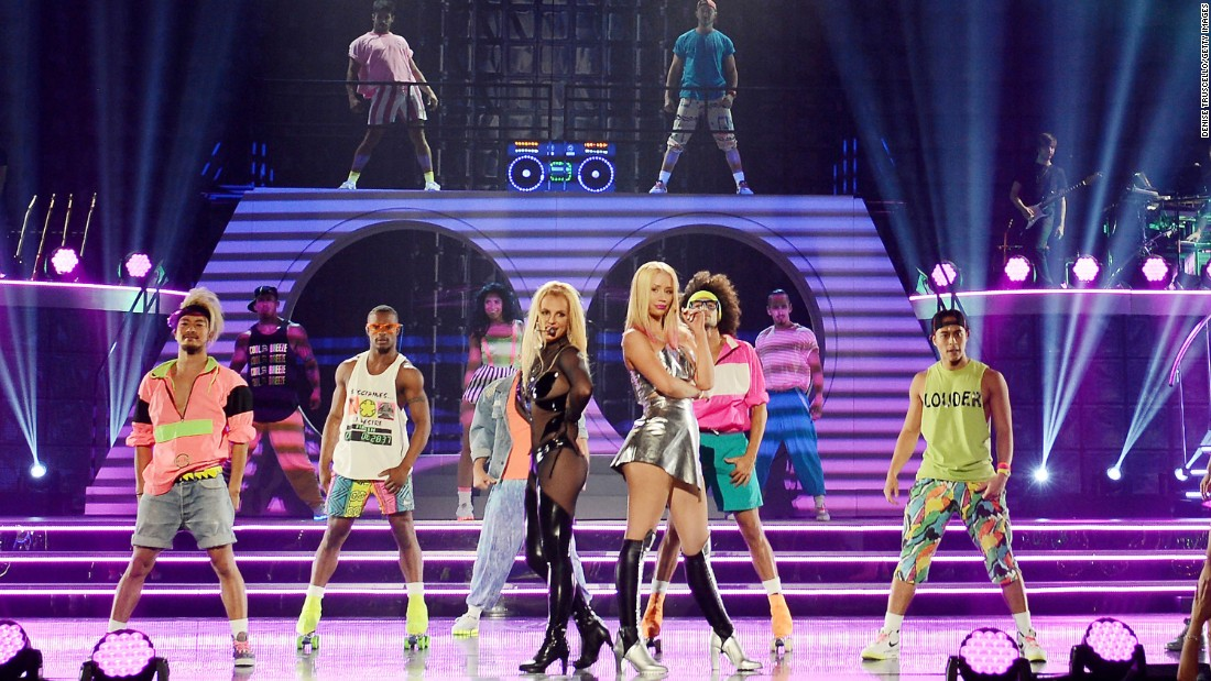 Britney Spears, foreground left, and Iggy Azalea