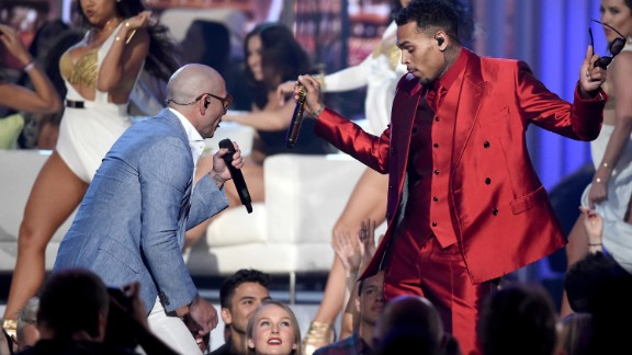 Pitbull, left, and Chris Brown