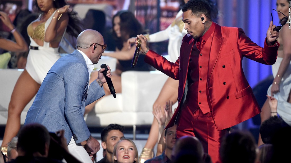 Pitbull, left, and Chris Brown