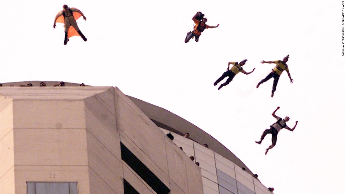 Here five Norwegians freefall from what was Thailand's tallest building in 2000.