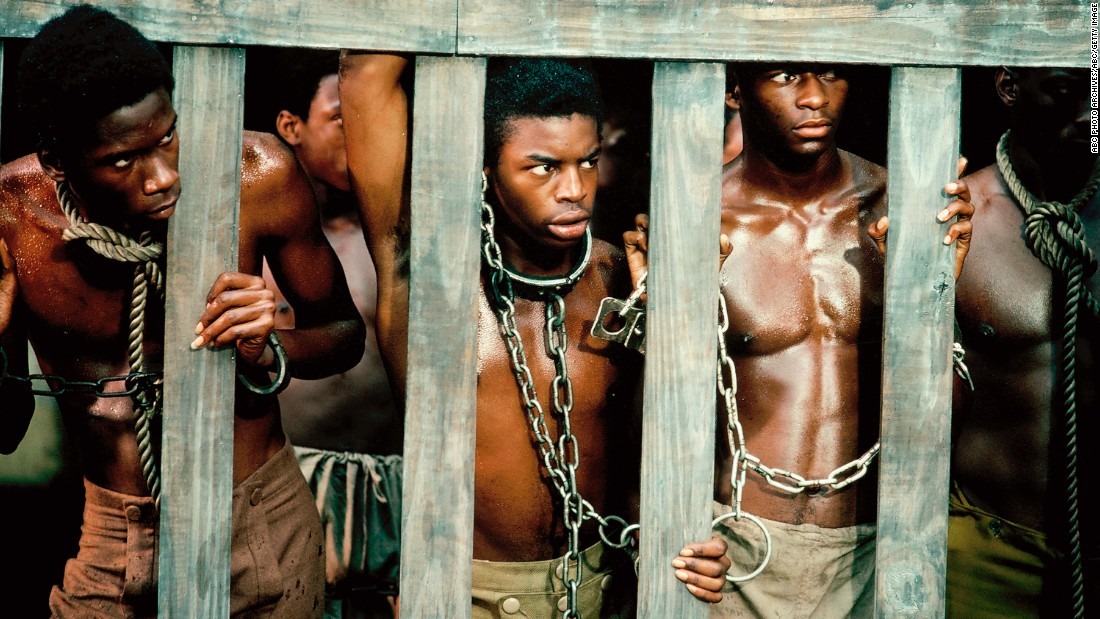 "The 12-hour ABC miniseries ""Roots,"" which aired for eight consecutive nights in January 1977, remains one of TV's landmark programs. Based on Alex Haley's best-selling novel, ""Roots"" starred LeVar Burton, center, as Kunta Kinte, a West African youth kidnapped into slavery and shipped to America. The show then follows 100 years of Kinte's descendants in America. The series' final episode still ranks as the third highest-rated telecast in U.S. history."
