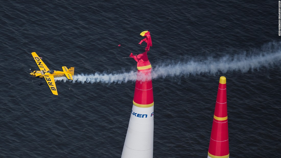 Francois Le Vot hits a pylon Sunday, May 17, while competing in the Red Bull Air Race in Chiba, Japan.
