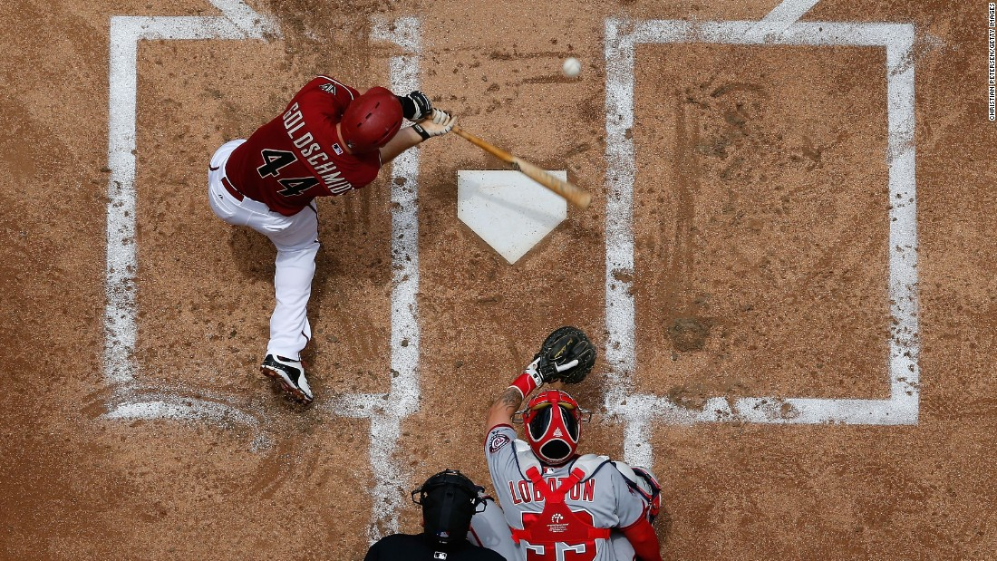 Arizona's Paul Goldschmidt hits a single during a Major League Baseball game in Phoenix on Wednesday, May 13.