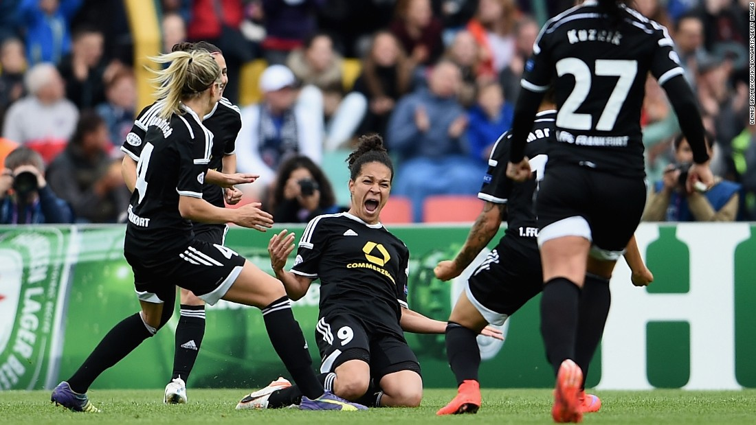 Celia Sasic, center, celebrates after scoring for Frankfurt during the first half of the UEFA Women's Champions League Final, which was played Thursday, May 14, in Berlin. The German club defeated Paris St. Germain 2-1 with a late goal from Mandy Islacker. It is the fourth time that Frankfurt has won the European tournament.