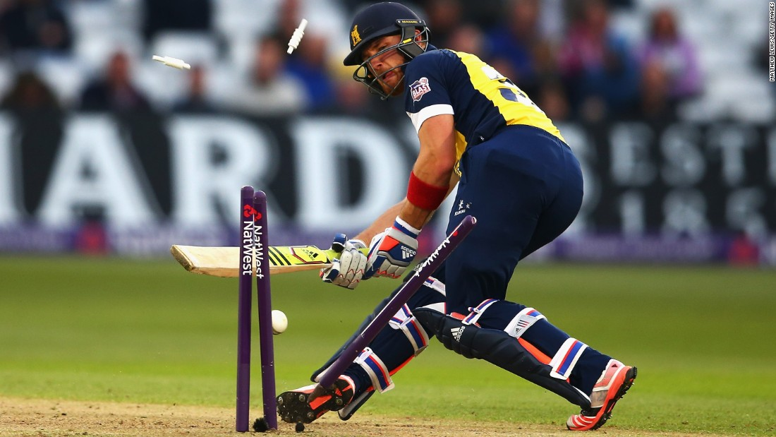 Warwickshire's Laurie Evans is bowled by Nottinghamshire's Luke Fletcher on Friday, May 15, during a T20 Blast match in Nottingham, England.