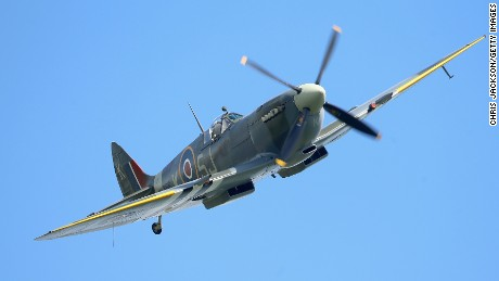 A Spitfire fighter flies over France during D-Day commemorations in 2014.