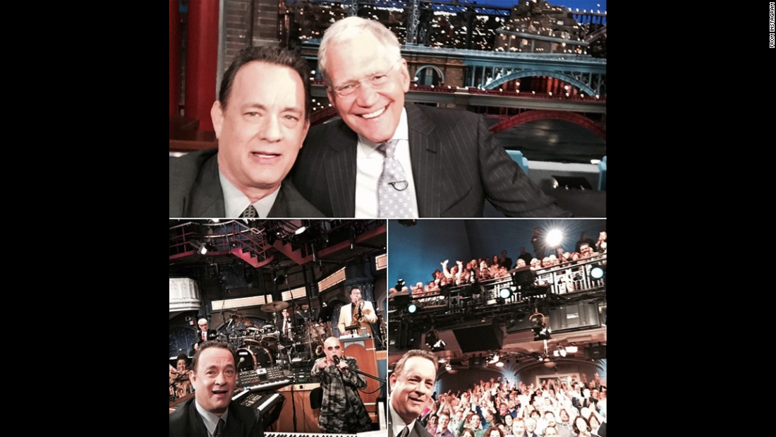 "Actor Tom Hanks <a href=""https://instagram.com/p/225KvBIDTL/"" target=""_blank"">used a selfie stick</a> during a recent appearance on ""The Late Show with David Letterman."" Letterman's final show airs Wednesday, May 20."