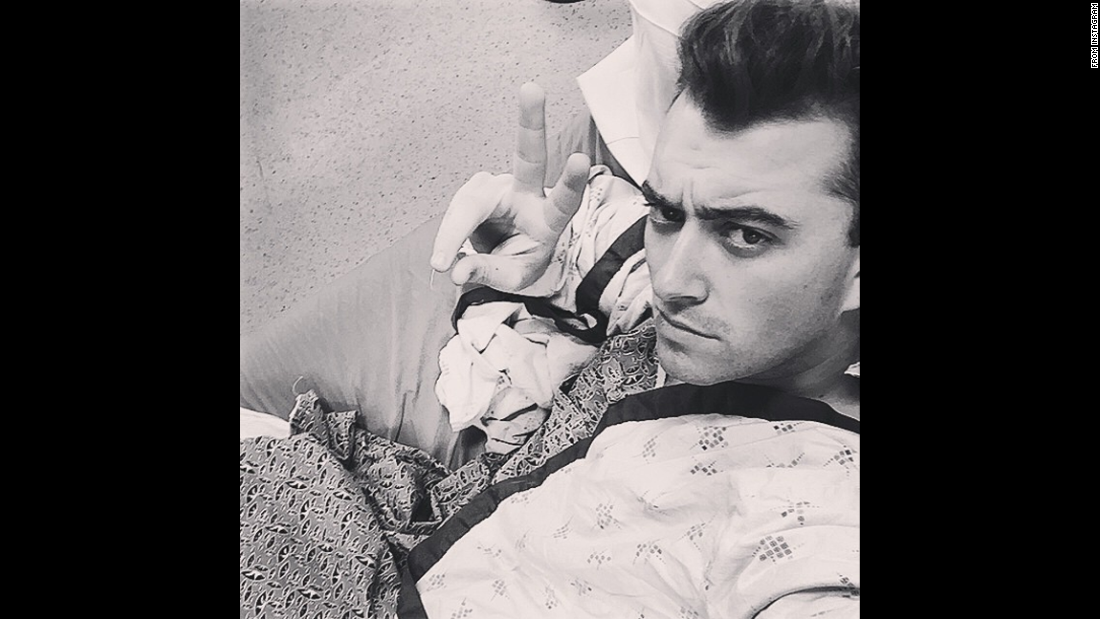 "Singer Sam Smith, who won four Grammy Awards earlier this year, took this <a href=""https://instagram.com/p/2qYUV4x2bm/"" target=""_blank"">""hospital selfie""</a> before having surgery on his vocal cords on Thursday, May 14."