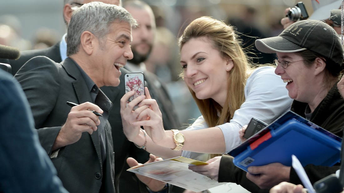 "Actor George Clooney arrives for the London premiere of his new film ""Tomorrowland"" on Sunday, May 17."