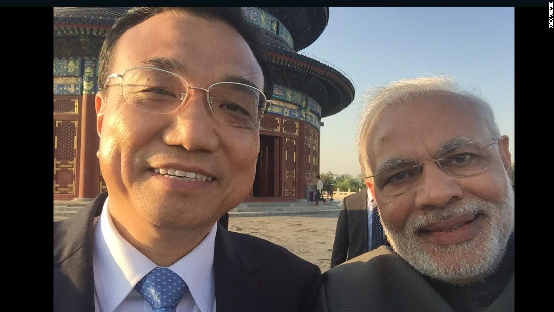 "Indian Prime Minister Narendra Modi, right, <a href=""https://twitter.com/narendramodi/status/599157848031920128"" target=""_blank"">tweeted this selfie with Chinese Premier Li Keqiang</a> while visiting China on Friday, May 15. ""It's selfie time!"" Modi wrote. ""Thanks Premier Li."""