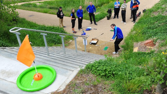 """Players had three attempts to chip off the mat and into the """"hole,"""" a tricky one even for the most seasoned of urban golfers."""