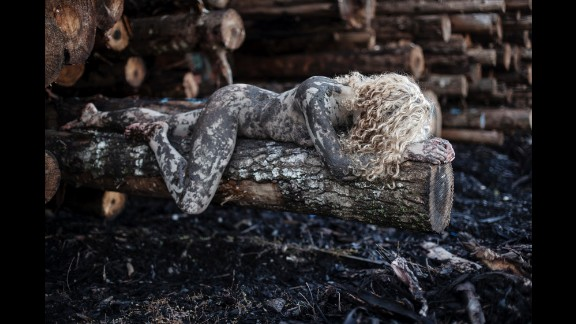 """Tahmaseb used mud on her subject for this photo, entitled """"Logs."""" """"I took this image when I went on my winter break to my home state of Oregon,"""" Tahmaseb said. """"This image has to do with my feelings of being attached to my home state."""""""