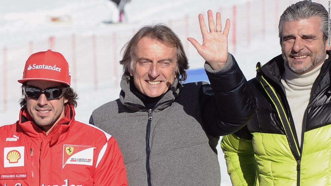 Here he is pictured with Ferrari's ex-president Luca Cordero di Montezemolo (center) and driver Fernando Alonso at a press day in 2012.
