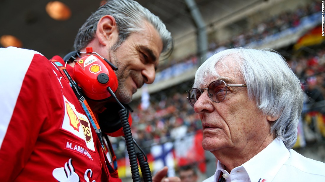 Arrivabene has had a long relationship with Formula One chief Bernie Ecclestone (right) after making his name with tobacco giant Philip Morris and representing sponsors on the F1 Commission.