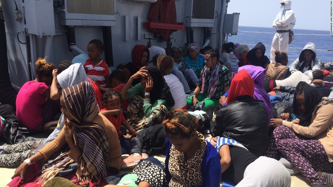 "Rescuing the migrants is an ""extraordinarily complex process,"" Amanpour reported.<br /><br />""It takes quite a long time to rescue boat of 300 people. They have to check, they have to make sure that there's nothing hostile on board.""<br /><br />""Then all the naval personnel suit up in white hazardous material suits with masks and gloves -- we all had to do the same thing -- in order to make sure that you don't get contaminated by any potential disease."""