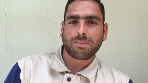 """Ibrahim Alzoughpi, 25. Blacksmith. """"A street area was attacked with six missiles. We rescued two brothers, from a room deep inside the house and off the street. Their parents and other two brothers died, because they were in a room closer to the street."""""""