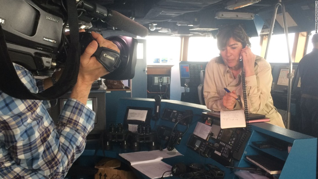 "The only way to communicate with the outside world from the middle of the sea is satellite phone. Here, Amanpour stands on the bridge of the frigate Virginio Fasan while <a href=""http://www.cnn.com/video/data/2.0/video/world/2015/05/20/amanpour-mediterranean-beeper.cnn.html"" target=""_blank"">she speaks with CNN's Hala Gorani</a>."
