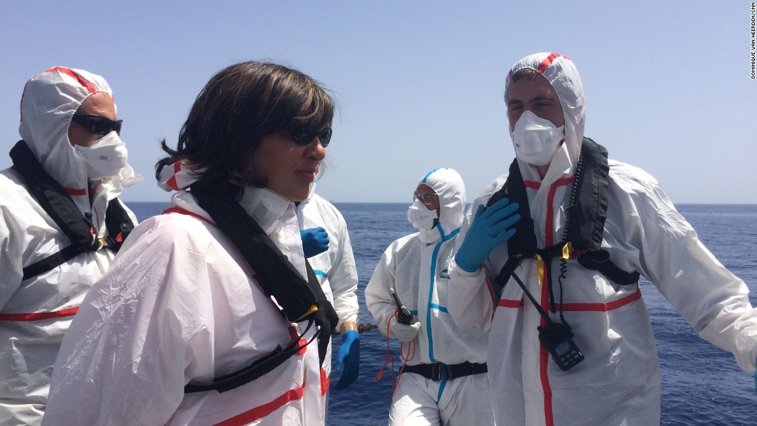 Everyone who participated rescue had to suit up in full protective gear in case any of the refugees and migrants were carrying diseases -- that rule was no different for Amanpour.
