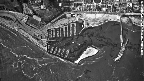 Santa Barbara Harbor after what was then the worst oil spill in U.S. history, in February 1969.