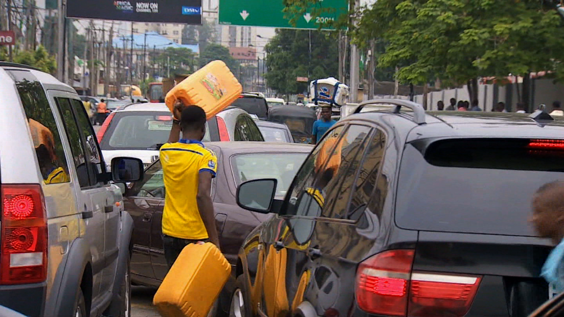 Traffic queues for gas in Lagos in May 2015, when a prolonged fuel crisis  nearly paralyzed the country.