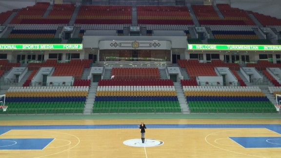 CNN's Amanda Davies is pictured inside the 20,000 capacity multipurpose Ashgabat Stadium. Since becoming president in 2006, Berdimyhamedov has heralded the importance of sport and the importance of a healthy nation.
