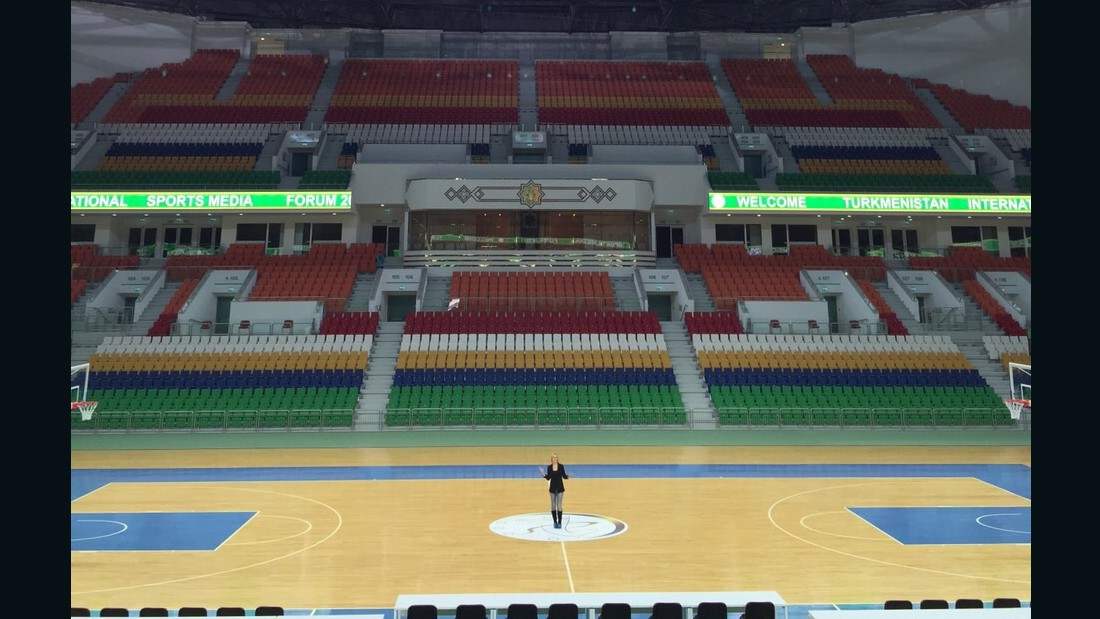 CNN's Amanda Davies is pictured inside the 20,000 capacity multipurpose Ashgabat Stadium. Since becoming Turkmenistan president in 2006, Gurbanguly Berdimyhamedov has heralded the importance of sport and the importance of a healthy nation.