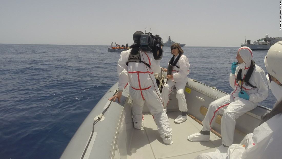 The Italian Navy spotted the medium-sized wooden boat that carried the refugees and migrants some 85 miles from Lampedusa.