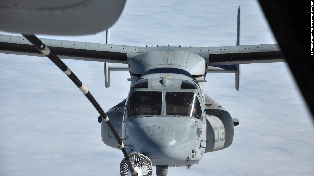 A Marine MV-22 Osprey makes contact with a KC-10 Extender tanker's drogue from Travis Air Force Base off the coast of San Francisco at 10,000 feet in October 2014.