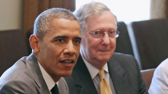 President Barack Obama meets with Mitch McConnell and others at the White House on July 31, 2014.