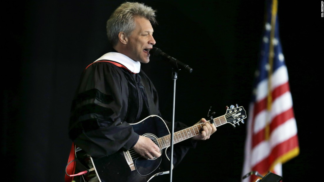 Rock star and philanthropist Jon Bon Jovi performs a new song during graduation ceremonies at Rutgers University on May 21.