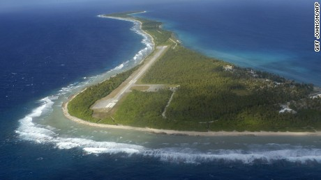An aerial view of the Marshall Islands, in the remote Pacific.