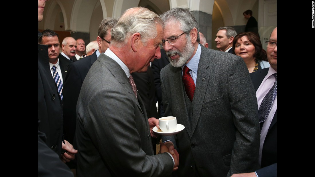 "Britain's Prince Charles. left, shakes hands with Sinn Fein president Gerry Adams in Galway, Ireland, on Tuesday, May 19. <a href=""http://www.cnn.com/2015/05/19/europe/prince-charles-gerry-adams-meeting/"" target=""_blank"">The encounter,</a> which took place on the first day of Charles' four-day tour of Ireland, was the first public meeting between the Sinn Fein leader and a member of the British royal family."
