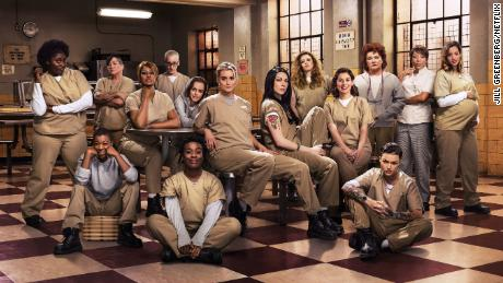 "Stone (fifth from right) starred in ""Orange is the New Black"" throughout its run."