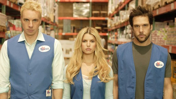 """""""Employee of the Month"""" (2006): A pair of warehouse workers compete to be named Employee of the Month and win a date with their dream girl, played by Jessica Simpson. (Netflix)"""