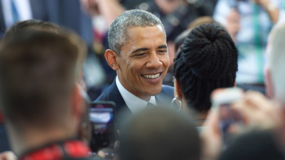 President Barack Obama greets supporters after giving a speech at the Salvation Army, Ray & Joan Kroc Corps Community Center May 18, 2015 in Camden, New Jersey.