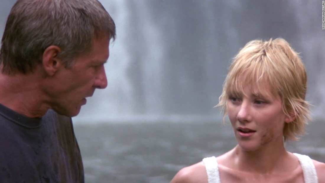 "Harrison Ford, then 55, with Anne Heche, 29, in the romantic comedy ""Six Days, Seven Nights."" Critics panned the movie for the couple's lack of chemistry onscreen."
