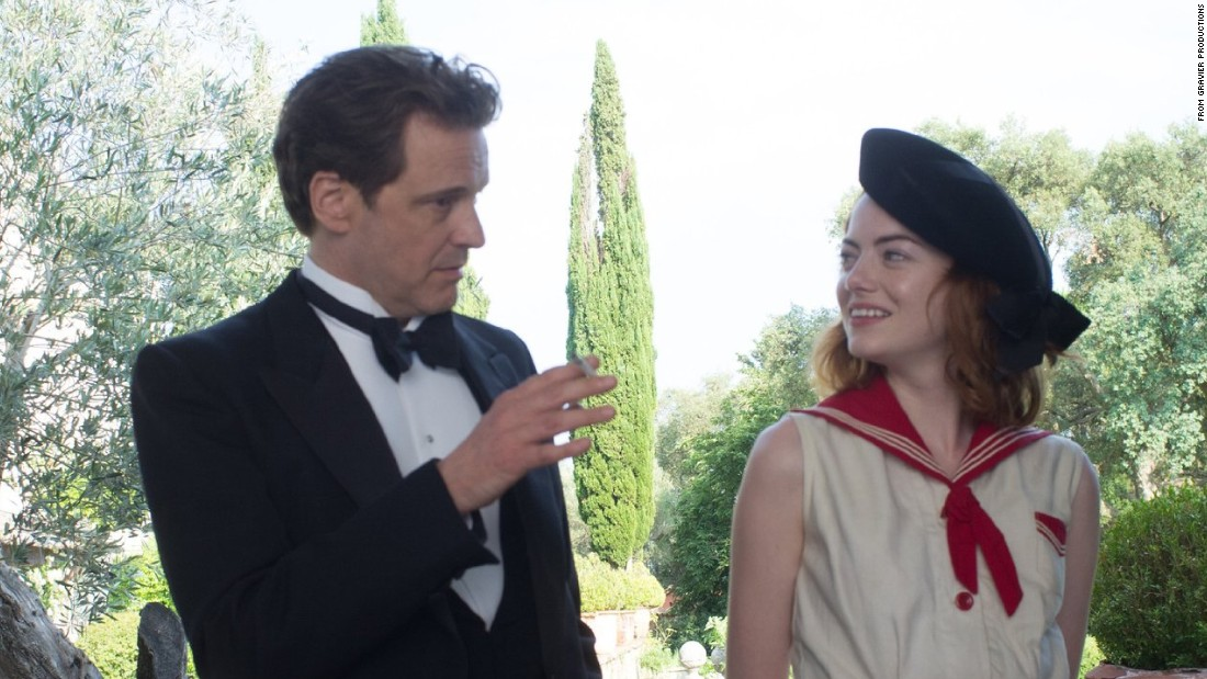 "Colin Firth, 53, and Emma Stone, 25, in ""Magic in the Moonlight."" She eventually fell for him in the movie, of course."