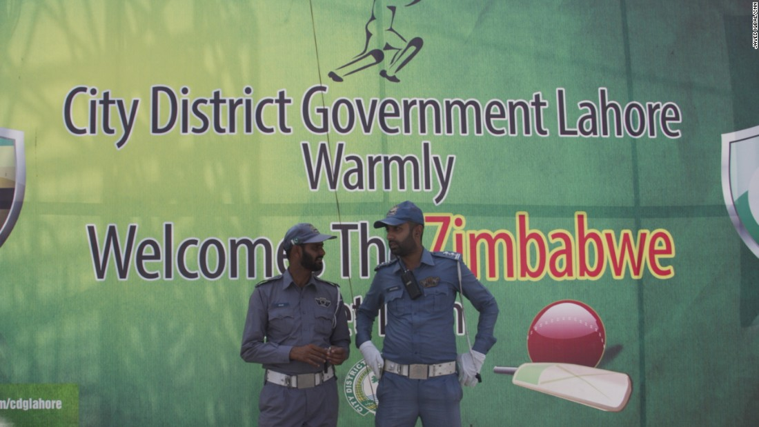 Six years later, Zimbabwe has arrived in Pakistan to play an international match -- Massive color posters welcome their arrival.
