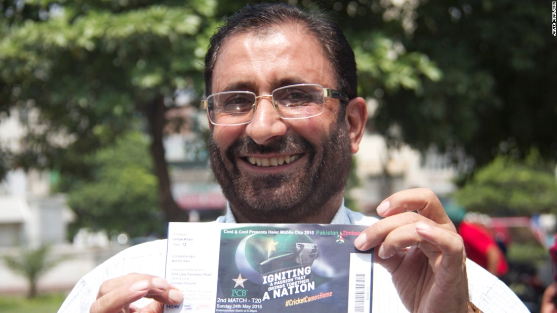 Pakistan is expected to go into overdrive Friday as the Pakistani cricket team will play on its home turf for the first time in almost a decade. Here, Khan Muhammad cheerfully brandishes the ticket he bought with his friend for the match -- which is completely sold out.