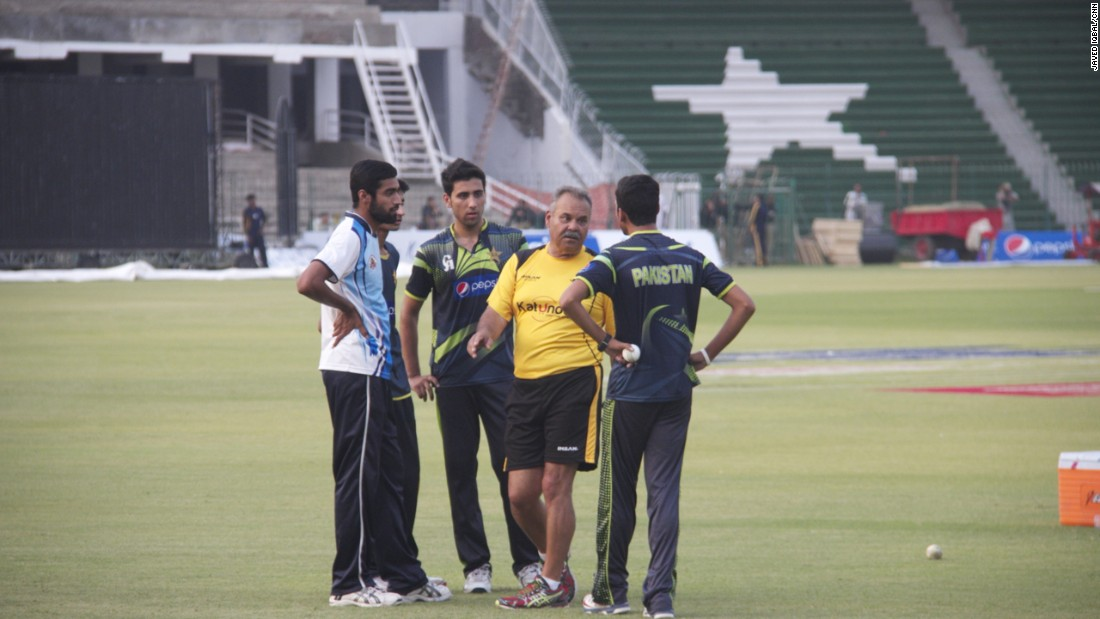 Pakistani cricket team members attend a practice session.