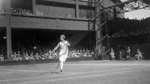 Spanish player Lili de Alvarez in action during a match on the old and long-gone Number One Court in June 1928.