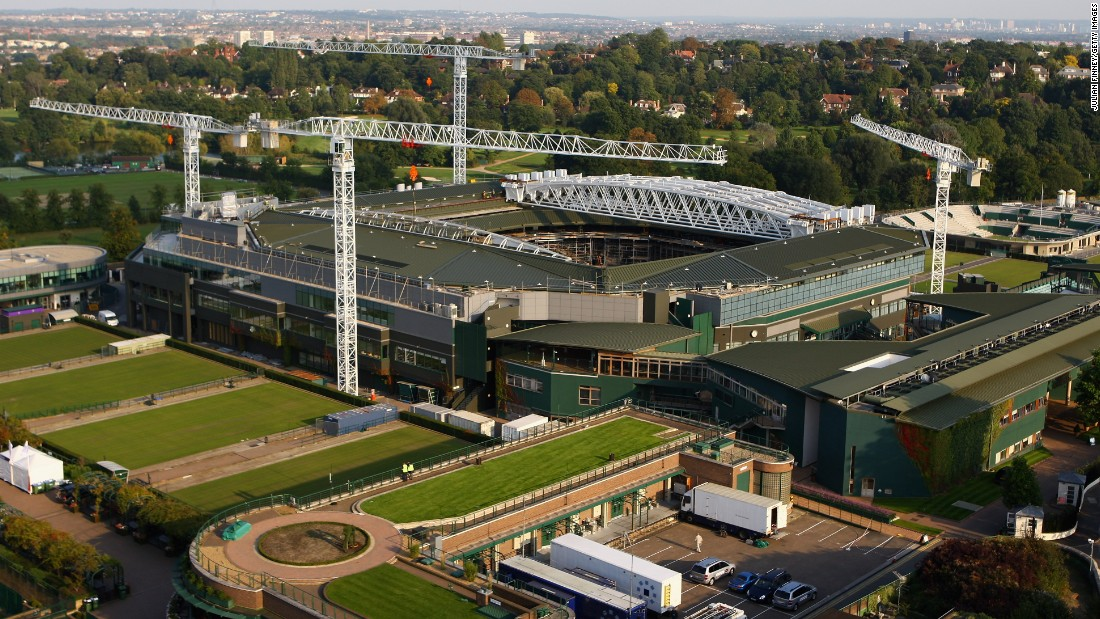 A general view of Wimbledon shows the new roof on Centre Court being constructed in 2008.