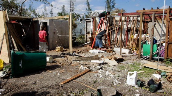 Wilma, 2005: The year might be remembered for the one-two punch of Katrina and Rita, but Wilma, which hit Florida after devastating Mexico's Yucatan Peninsula, would become (as of May 2015) the U.S.'s fifth most costly cyclone. Here, workers remove debris from a Miami flower and plant shop on October 28. Millions were without power in the state.
