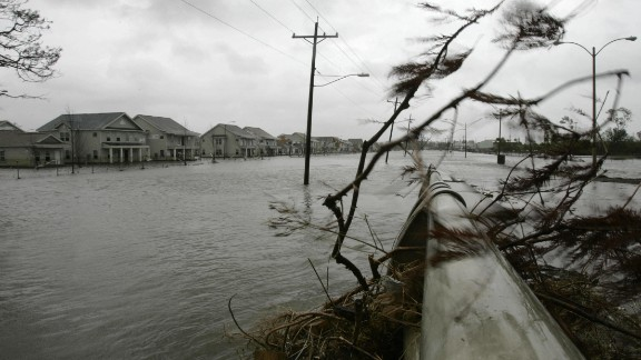 Rita, 2005: Just a month after Katrina, Hurricane Rita piled on, slamming into the Louisiana coast. Wind, rain and tornadoes left billions in damages from eastern Texas to Alabama. Here, surging water from Rita reach the streets of New Orleans' Ninth Ward, topping a levee that had just been patched after Katrina damaged it.