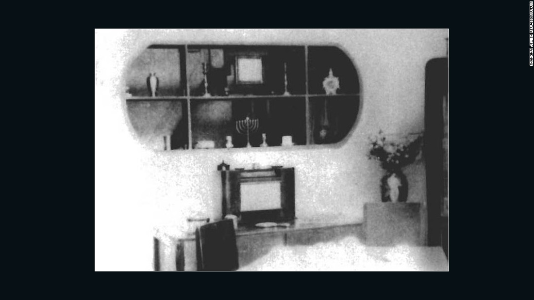 The interior of a Jewish refugee family's house. Although Shanghai proved a safe haven for the Jewish refugees, they often lived in cramped conditions.